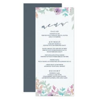 Menu floral frais de mariage d'aquarelle carton d'invitation  10,16 cm x 23,49 cm