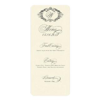 Menu luxueux et élégant de mariage carton d'invitation  10,16 cm x 23,49 cm
