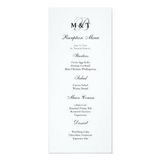 Menu mat noir et blanc de mariage de monogramme carton d'invitation  10,16 cm x 23,49 cm