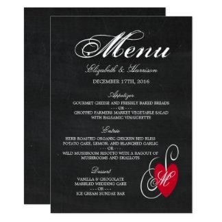 Menu moderne de mariage de coeur de fantaisie de carton d'invitation  11,43 cm x 15,87 cm