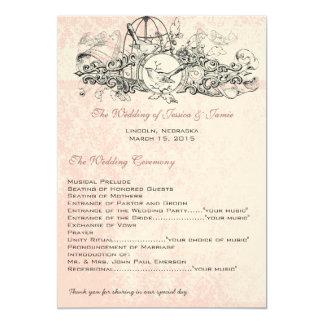 Menu musical de mariage de rouleau de cage à carton d'invitation  12,7 cm x 17,78 cm