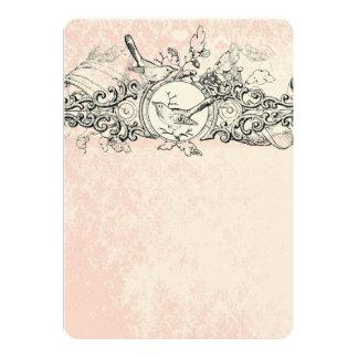Menu musical de mariage de rouleau de rose vintage carton d'invitation  12,7 cm x 17,78 cm