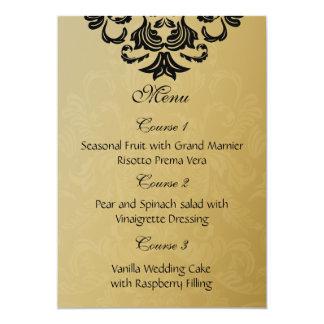 menu noir de mariage d'or carton d'invitation  12,7 cm x 17,78 cm