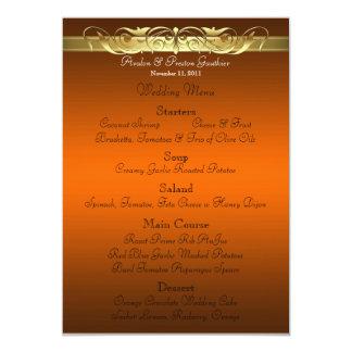 Menu orange de mariage de Grande -Duchesse rouleau Carton D'invitation 12,7 Cm X 17,78 Cm