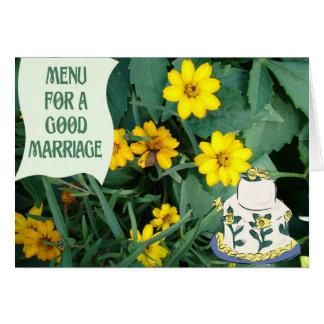 Menu pour un bon mariage carte de vœux