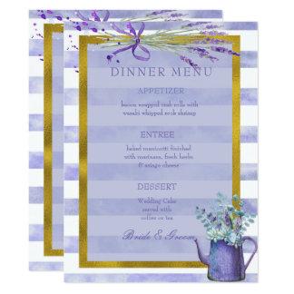 Menu pourpre de mariage de fleur de lavande de la carton d'invitation  16,51 cm x 22,22 cm