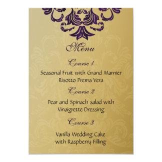 menu pourpre de mariage d'or carton d'invitation  12,7 cm x 17,78 cm