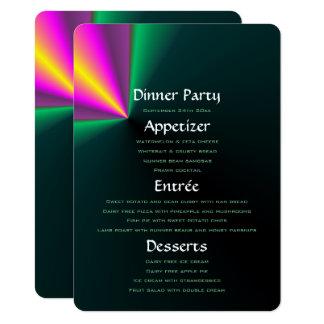 Menu pourpre et jaune vert coloré de dîner carton d'invitation  11,43 cm x 15,87 cm