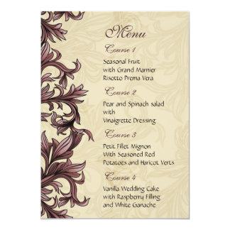 menu rose de mariage carton d'invitation  12,7 cm x 17,78 cm