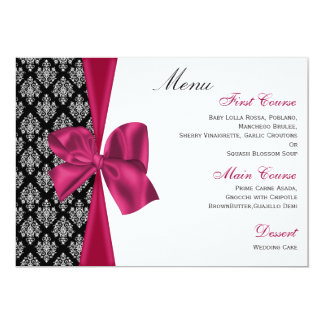 menu rose de mariage damassé carton d'invitation  12,7 cm x 17,78 cm
