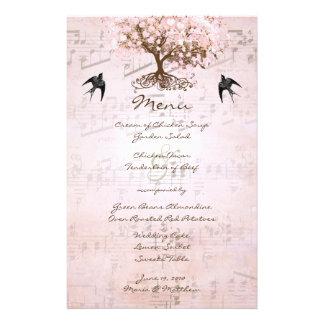 Menu rose de mariage d'arbre de feuille de coeur