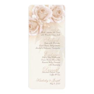 Menu rose II de mariage de lait Carton D'invitation 10,16 Cm X 23,49 Cm