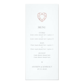 Menu rose simple de mariage de coeur d'or carton d'invitation  10,16 cm x 23,49 cm