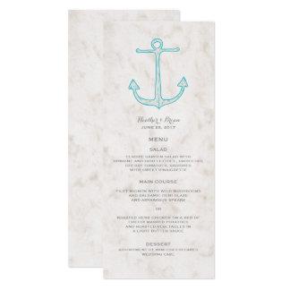 Menu rustique turquoise de mariage d'ancre carton d'invitation  10,16 cm x 23,49 cm