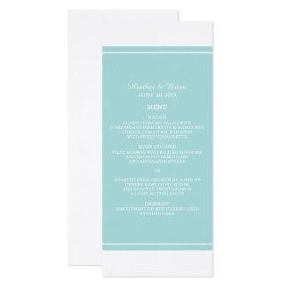 Menu simplement élégant de mariage de turquoise carton d'invitation  10,16 cm x 23,49 cm