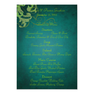 Menu turquoise de mariage de rouleau noble de carton d'invitation  12,7 cm x 17,78 cm