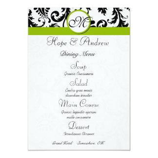Menu vert pomme de mariage de remous noir de carton d'invitation  12,7 cm x 17,78 cm