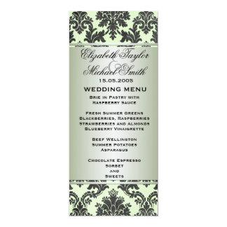 Menu victorien vert de luxe de mariage damassé carton d'invitation  10,16 cm x 23,49 cm