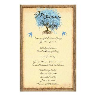 Menu vintage bleu de mariage d'arbre de feuille de