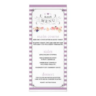 Menus rayés floraux de mariage de couleur faite carton d'invitation  10,16 cm x 23,49 cm