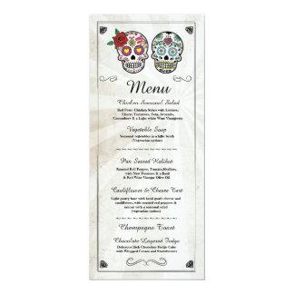 Menus rustiques de crânes de sucre de réception de carton d'invitation  10,16 cm x 23,49 cm