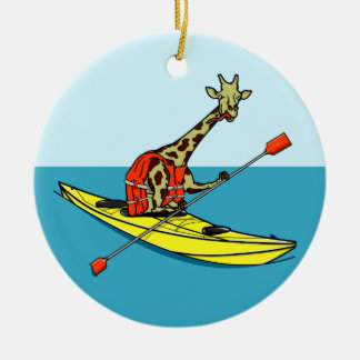 Mer de girafe de bande dessinée kayaking ornement rond en céramique