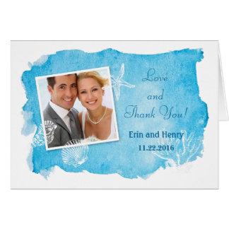 Mer Shell sur le carte de remerciements de mariage