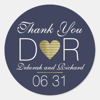 merci. aimez le coeur.  faveur de mariage sticker rond