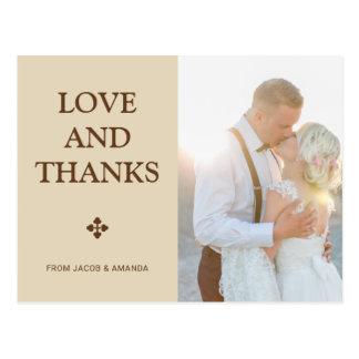 Merci beige simple de mariage d'amour et de mercis cartes postales