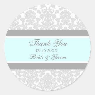 Merci bleu gris de damassé épousant des étiquettes sticker rond