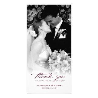 Merci chic de mariage de manuscrit simple de cartes avec photo