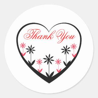 Merci coeur autocollants stickers - Fleur au coeur noir ...