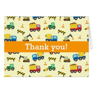 Merci coloré, motif de véhicules de construction carte de vœux