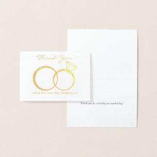 Merci d'anneaux de mariage foil card