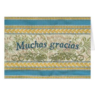 Merci dans l'Espagnol, Muchas Gracias Carte De Vœux