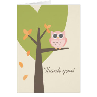 Merci de baby shower d'automne de hibou de rose carte