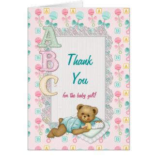 Merci de baby shower de nounours d'ABC Carte