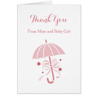 Merci de baby shower de parapluie rose mignon et carte