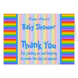 Merci de baby shower. Rayures d'arc-en-ciel. Carte