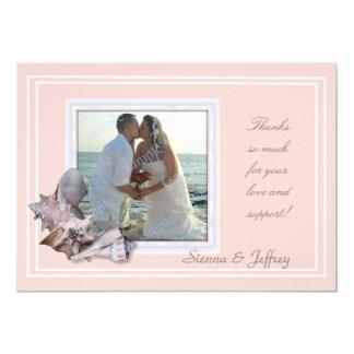 Merci de cadre de photo de coquillage de mariage carton d'invitation  12,7 cm x 17,78 cm