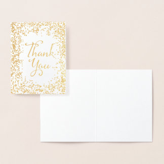 Merci de confettis d'or carte dorée