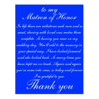 Merci de dame de honneur carte postale