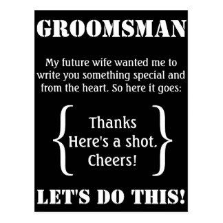 Merci de Groomsman Cartes Postales