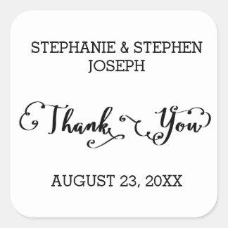Merci de manuscrit de noms - autocollant carré