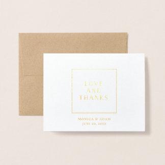 Merci de mariage d'aluminium d'art déco carte dorée