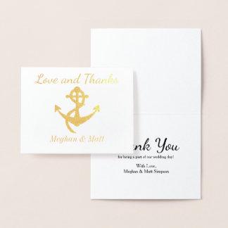 Merci de mariage de carte d'aluminium d'ancre