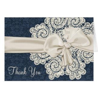 Merci de mariage de dentelle de denim et d'ivoire carte