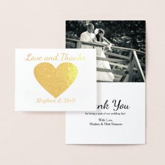 Merci de mariage de photo d'aluminium de coeur carte dorée
