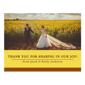 Merci de photo de marié de jeune mariée de mariage cartes postales
