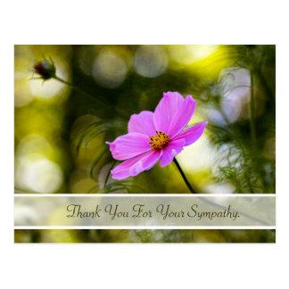 Merci de sympathie même le fleur sauvage rose de c cartes postales